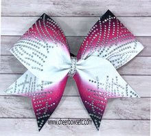 Load image into Gallery viewer, hot pink & black rhinestone cheerleading bow for Japan