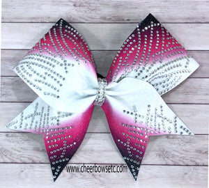 hot pink & black rhinestone cheerleading bow for Japan