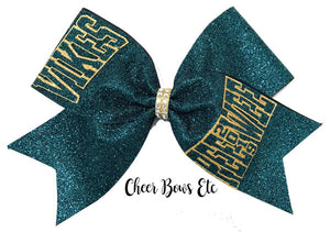 Hunter Green Bow with gold and hunter green lettering