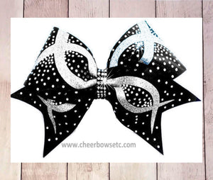 infinity rhinestone bow black and silver
