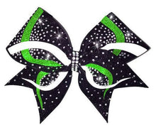 Load image into Gallery viewer, Cheerleading hair bow in black, lime green and white glitter with stones