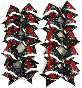 Team cheerleading bows in white red and black glitter