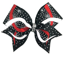 Load image into Gallery viewer, Cheerleading Hair Bow in black, white & red glitter with rhinestones