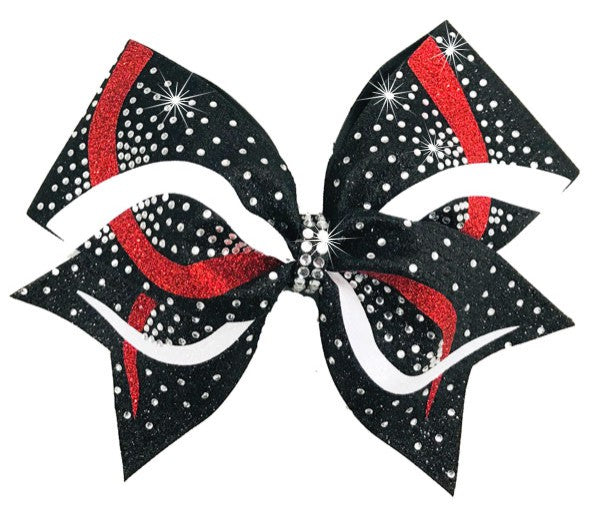 Cheerleading Hair Bow in black, white & red glitter with rhinestones