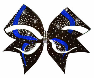 Royal and white competition cheerleading hair bows