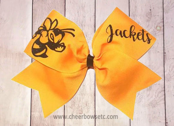 yellow jackets bee bow for cheerleaders