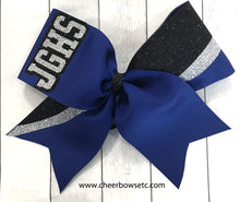 Load image into Gallery viewer, Royal Blue Glitter Team Lettered Switch Kick Cheer Bow