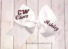 Load image into Gallery viewer, grosgrain maroon and white cheerleading school bow