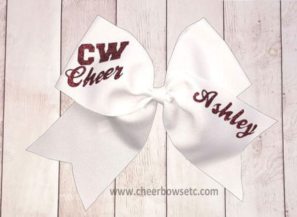 grosgrain maroon and white cheerleading school bow
