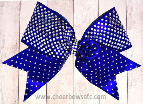 Royal Blue Rhinestone Bow heavy stones design