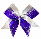 Purple Rhinestones with silver glitter cheerleading bows