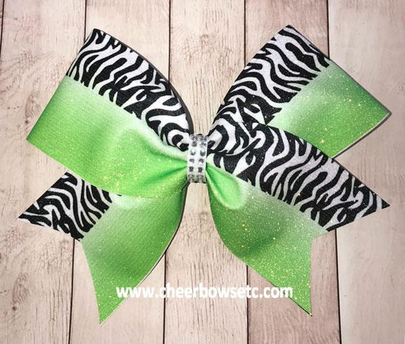 Ombre Dye Sublimation Zebra Cheer Bow
