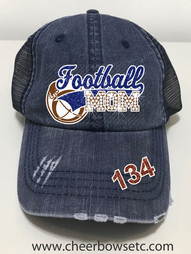 Football Mom Denim Hat-Flock, Glitter & Rhinestones