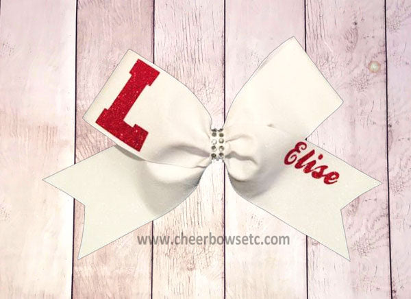lodi california cheerleading hair bow custom red and white
