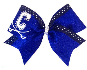 Custom Logo Over The Top Glitter Bow with Trim