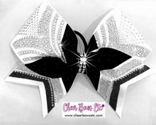 Load image into Gallery viewer, white, black & silver cheerleading hair bow rhinestone accent