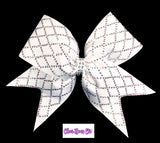 White Diamond Material Girl Bow in White with crystal AB stones