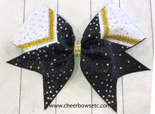 Load image into Gallery viewer, Rhinestone Cheer Bow Delight 1 in black, gold and white glitter.