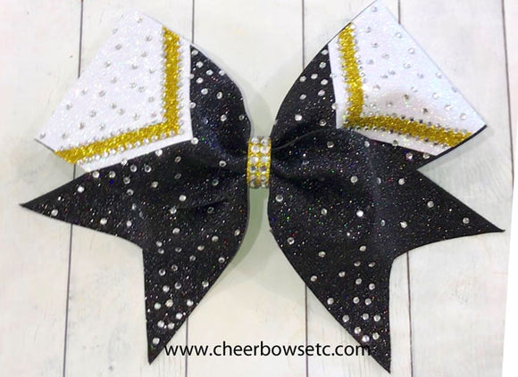 Rhinestone Cheer Bow Delight 1 in black, gold and white glitter.