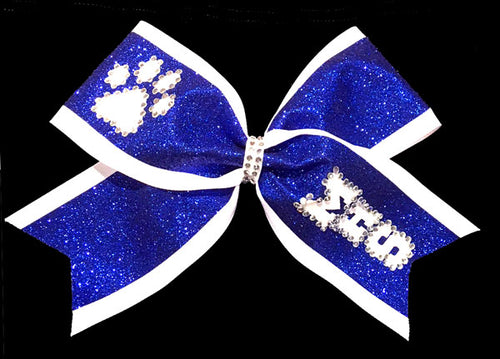 Royal Blue and White cheerleading bow