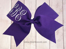 Load image into Gallery viewer, purple and silver mongogram cheerleading hair bow