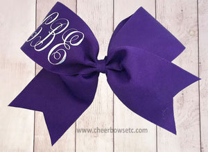 purple and silver mongogram cheerleading hair bow