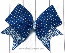 Load image into Gallery viewer, navy blue glitter and rhinestone bow awesome