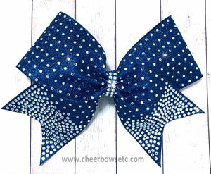 navy blue glitter and rhinestone bow awesome