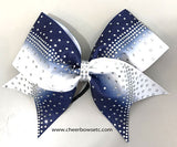 Navy Blue & White Rhinestone Cheerleading Bow Dye sublimation