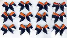 Load image into Gallery viewer, Orange Black and white team cheerleading bows with rhinestones