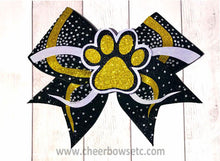 Load image into Gallery viewer, 3D Paw Bow black gold and white