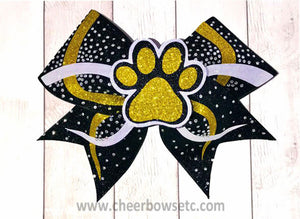 3D Paw Bow black gold and white