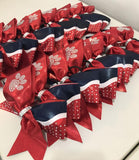 Red Rhinestone Paw Bows