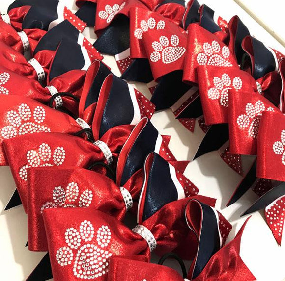 Red Paw Print Cheerleading Hair Bow