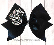 Load image into Gallery viewer, Large Rhinestone Paw Print Cheerleading Bow