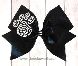 Large Rhinestone Paw Print Cheerleading Bow