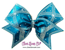 Load image into Gallery viewer, power x turquoise cheerleading bow super sparkly