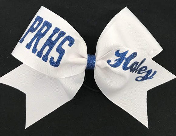 Sport Script Personalized High School cheerleading bow