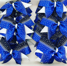 Load image into Gallery viewer, Royal Blue, Black & White Rhinestone cheerleading bows for teams