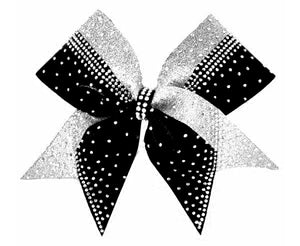 black and silver cheerleading bow with rhinestones