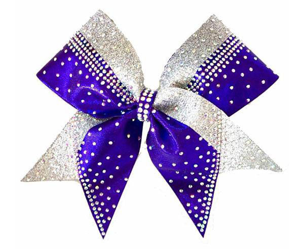 Purple & Silver Rhinestone cheerleading hair bow