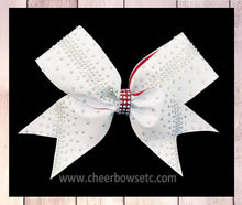 Load image into Gallery viewer, Rhinestone cheerleading hair bow in white glitter with crystal AB stones