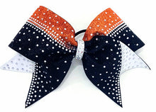 Load image into Gallery viewer, orange black & white cheerleading hairbow with rhinestones