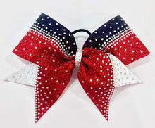 Load image into Gallery viewer, Red white and black pristine kristine cheer bow