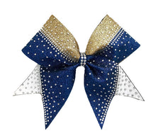 Load image into Gallery viewer, Navy Blue, Gold & White Glitter Rhinestone cheerleading bow