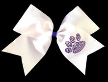 Load image into Gallery viewer, Purple and white cheer bow