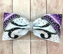 Load image into Gallery viewer, Purple Fleuris Tailless cheerleading hair bow