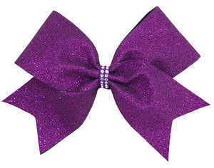 Purple Glitter Cheerleading Bow