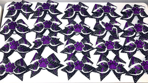 3D Paw Bows in purple white and black. Cheer Bow