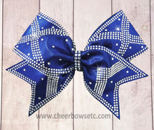 Load image into Gallery viewer, purple cheerleading bow with rhinestones X pattern